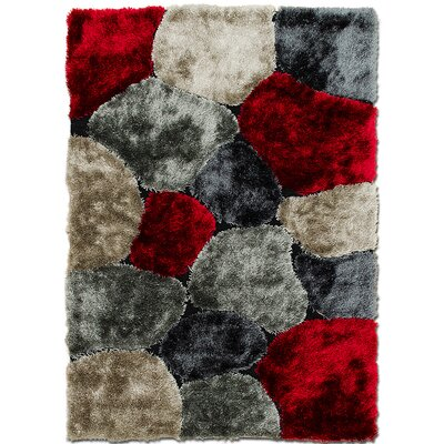 Hand-Tufted Red/Gray Area Rug Rug Size: 411 x 611