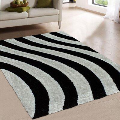 Hand-Tufted Black/Cream Area Rug Rug Size: 5 x 7