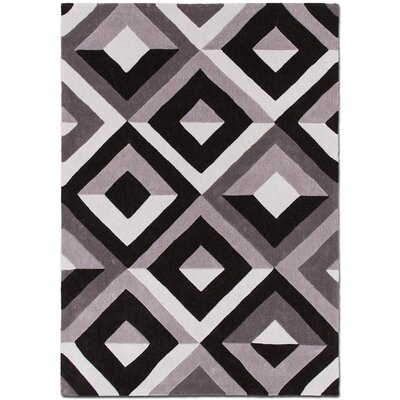 Handmade Black/Light Purple Area Rug Rug Size: 7 x 102