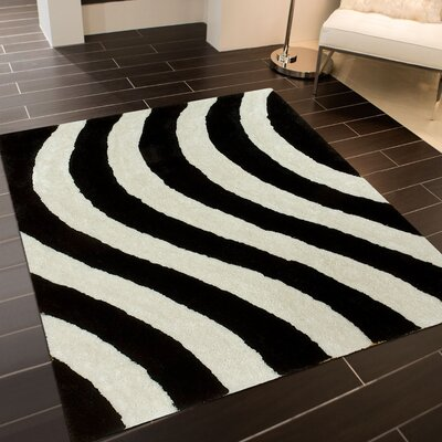 Hand-Tufted Black/White Area Rug Rug Size: 5 x 7
