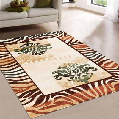 Print Brown Area Rug Rug Size: 79 x 105