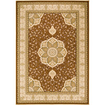 Handmade Brown Area Rug Rug Size: 53 x 75