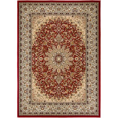 Handmade Red Area Rug Rug Size: 67 x 93