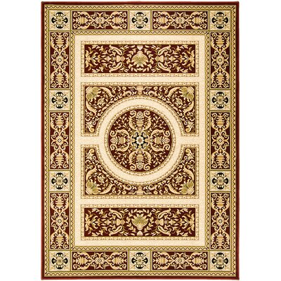 Handmade Red/Brown Area Rug Rug Size: 53 x 75