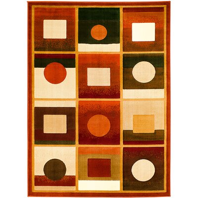 Orange/Black Area Rug Rug Size: 52 x 72