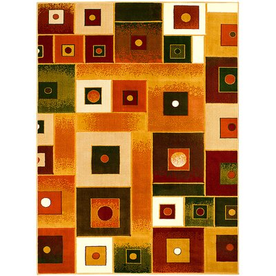 Orange Area Rug Rug Size: 5'2