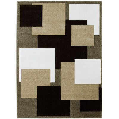 Green/Beige Area Rug Rug Size: Rectangle 52 x 72