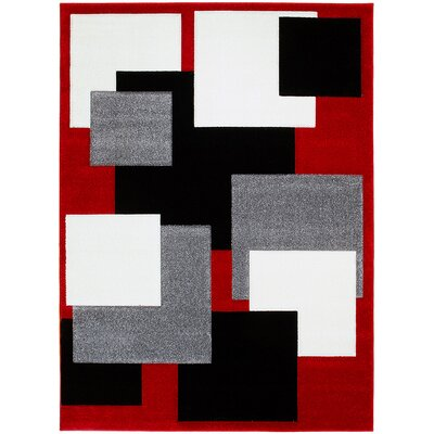 Red Area Rug Rug Size: Rectangle 52 x 72