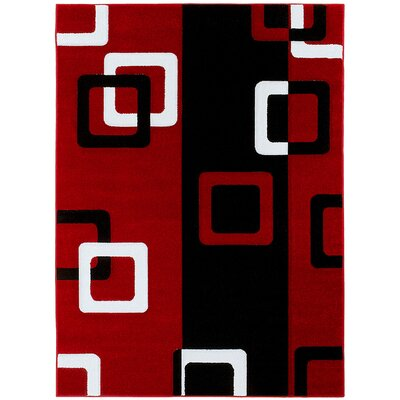 Red/Black Area Rug Rug Size: Rectangle 79 x 105