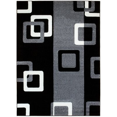 Gray/Black Area Rug Rug Size: 52 x 72