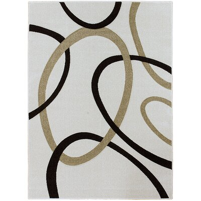 Circle Ivory Area Rug Rug Size: Rectangle 52 x 72
