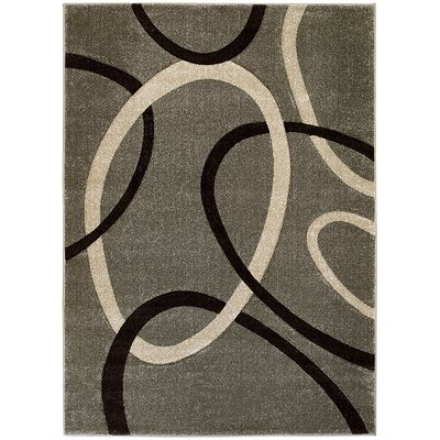 Circle Gray Area Rug Rug Size: 52 x 72