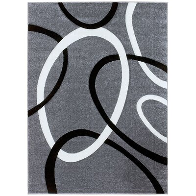Circle Gray Area Rug Rug Size: 79 x 105