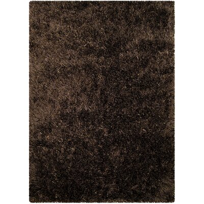 Hand-Knotted Espresso Area Rug Rug Size: 5 x 7