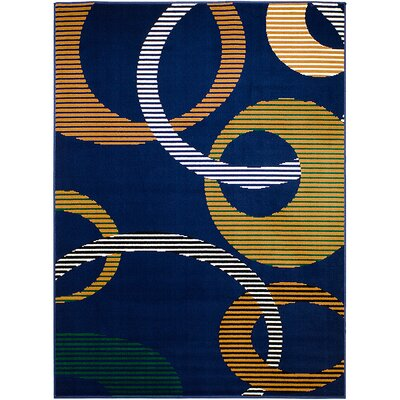 Blue/Brown Area Rug Rug Size: 52 x 71