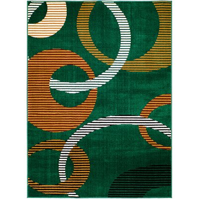 Green Area Rug Rug Size: 52 x 71