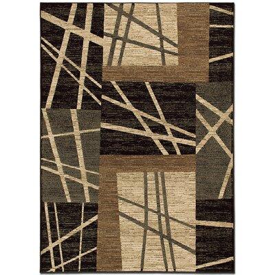 Lines Black Area Rug Rug Size: 79 x 105