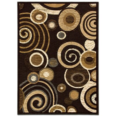 Circles Chocolate Area Rug Rug Size: 52 x 72