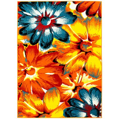 Orange/Blue Area Rug Rug Size: 5 x 611