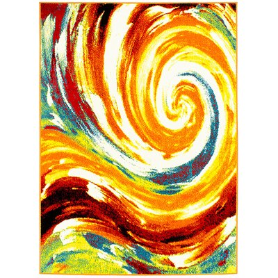 Orange/Green Area Rug Rug Size: 710 x 10