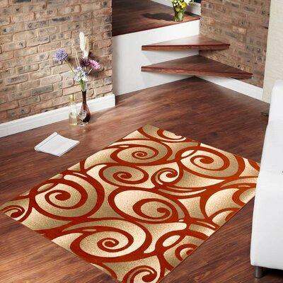 Evolution Swirl Rust/Gold Area Rug Rug Size: 39 x 51