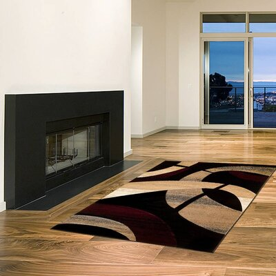 Black/Brown Area Rug Rug Size: 52 x 72