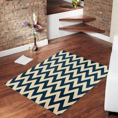 Blue/Beige Area Rug Rug Size: 79 x 105