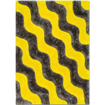 Hand-Tufted Yellow Area Rug Rug Size: 5' x 7'