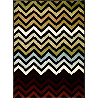 Black/Brown Area Rug Rug Size: 77 x 105