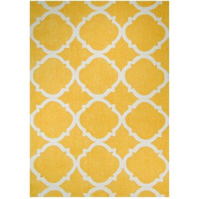 Handmade Yellow Area Rug Rug Size: 7 x 102