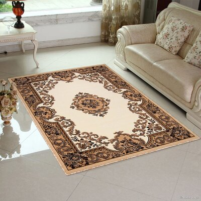 Hand-Woven Ivory/Brown Area Rug Rug Size: 52 x 72