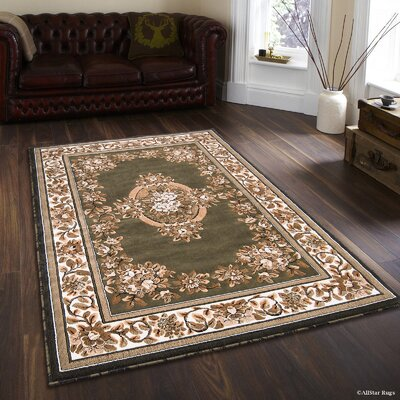 Arkin High-Quality Woven Floral Printed Drop-Stitch Carving Hunter Green Area Rug Rug Size: 5 x 7