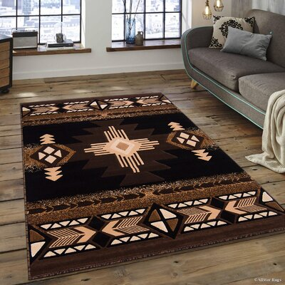Hand-Woven Black/Brown Area Rug Rug Size: 52 x 72