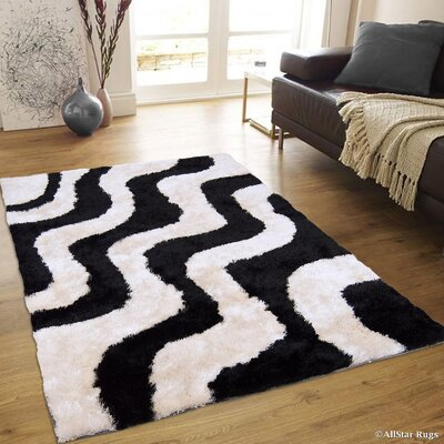 Hand-Tufted Off-White/Black Area Rug Rug Size: 711 x 105