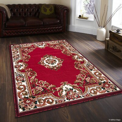 Hand-Woven Red Area Rug Rug Size: 52 x 72