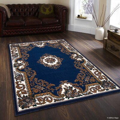 Hand-Woven Blue/Brown Area Rug Rug Size: 52 x 72