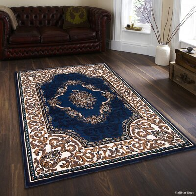 Hand-Woven Blue/Beige Area Rug Rug Size: 52 x 72