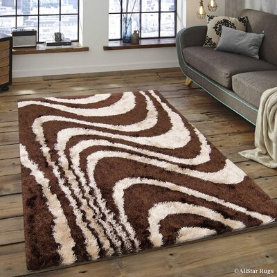 Hand-Tufted Brown/Beige Area Rug Rug Size: 4'11