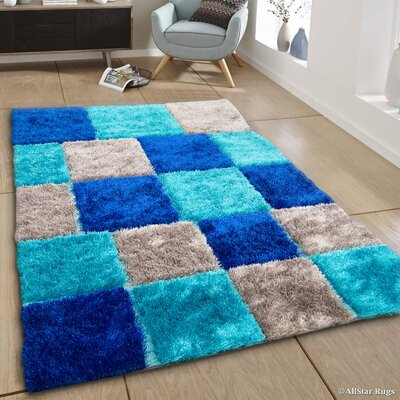 Hand-Tufted Blue/Gray Area Rug Rug Size: 411 x 611