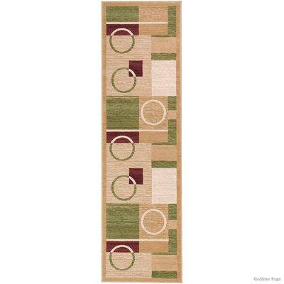 Hand-Woven Beige/Green Area Rug