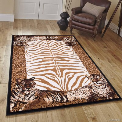Hand-Tufted Brown Area Rug Rug Size: 52 x 71