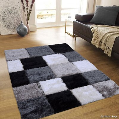 Hand-Tufted Black/White Area Rug Rug Size: 4'11