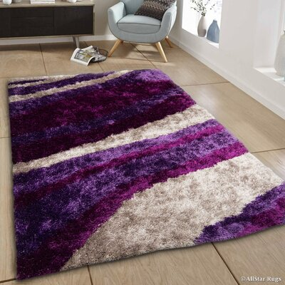 Hand-Tufted Purple Area Rug Rug Size: 411 x 611