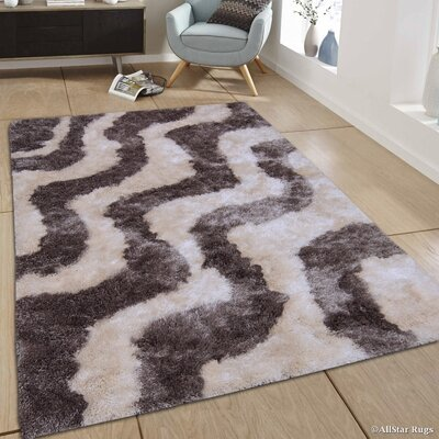 Hand-Tufted Gray Area Rug Rug Size: 4'11