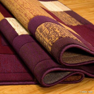 Hand-Tufted Violet/Gold Area Rug Rug Size: 52 x 72