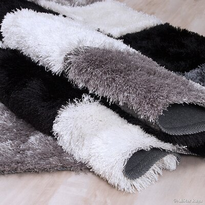 Hand-Tufted Black/White Area Rug Rug Size: 711 x 105