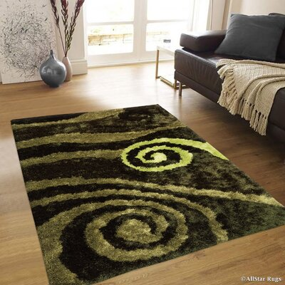 Hand-Tufted Green Area Rug Rug Size: 4'11