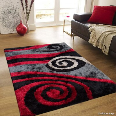 Hand-Tufted Red/Black Area Rug Rug Size: 7'11