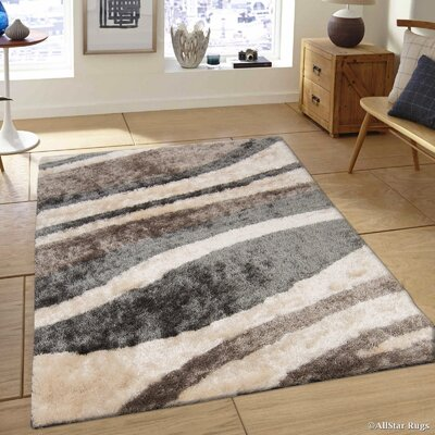 Hand-Tufted Ivory/Brown Area Rug Rug Size: 411 x 611
