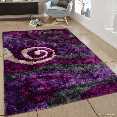 Hand-Tufted Purple Area Rug Rug Size: 7'11